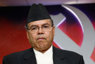 Jhalanath Khanal being taken to Delhi for treatment after his condition became critical